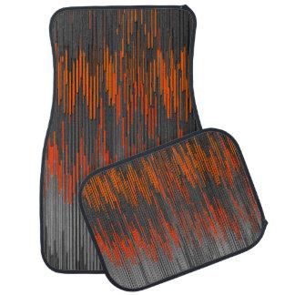 Trendy Neon Orange Black  ZigZag Chevron Pattern Floor Mat