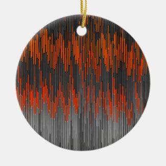 Trendy Neon Orange Black  ZigZag Chevron Pattern Christmas Ornaments