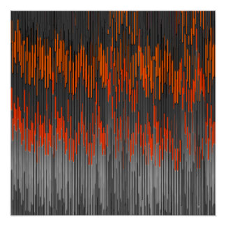 Trendy Neon Orange Black  ZigZag Chevron Pattern Poster