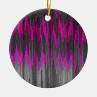 Trendy Neon Pink  black  ZigZag Chevron Pattern Ornaments