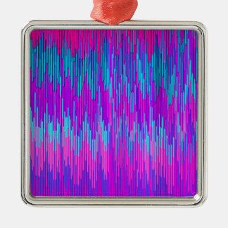 Trendy Neon Pink Teal ZigZag Chevron Pattern Art Christmas Tree Ornament