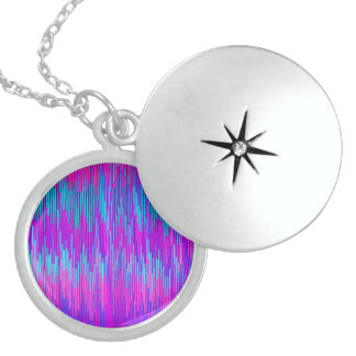 Trendy Neon Pink Teal ZigZag Chevron Pattern Art Round Locket Necklace