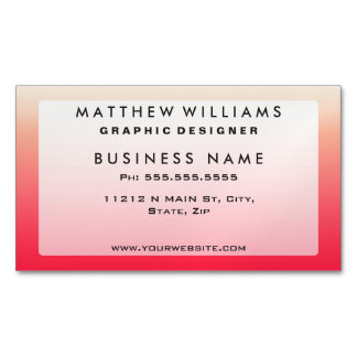 Trendy Neon Red to Vintage White Ombre Gradient Magnetic Business Card