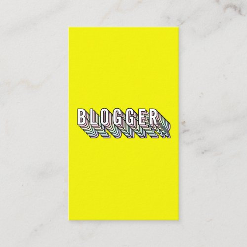 Trendy neon yellow 3d typography blogger minimal Business Card