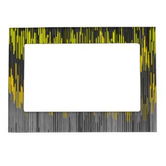 Trendy Neon Yellow  black  ZigZag Chevron Pattern Magnetic Photo Frame