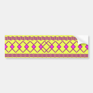 Trendy Neon Yellow Pink Tribal Aztec Pattern Bumper Stickers