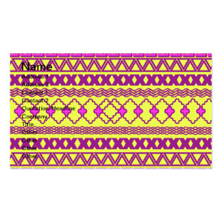 Trendy Neon Yellow Pink Tribal Aztec Pattern Double-Sided Standard Business Cards (Pack Of 100)