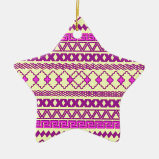 Trendy Neon Yellow Pink Tribal Aztec Pattern Ceramic Ornament