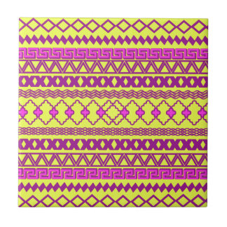 Trendy Neon Yellow Pink Tribal Aztec Pattern Ceramic Tile