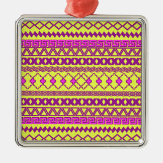 Trendy Neon Yellow Pink Tribal Aztec Pattern Metal Ornament