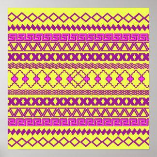 Trendy Neon Yellow Pink Tribal Aztec Pattern Poster