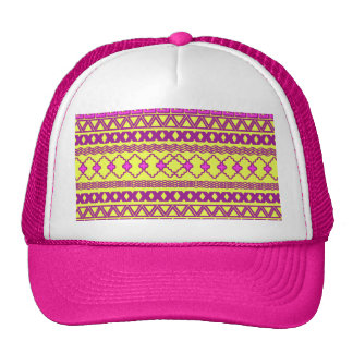 Trendy Neon Yellow Pink Tribal Aztec Pattern Trucker Hat