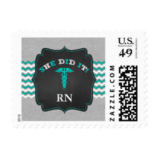 Trendy Nurse stamp, RN BSN LPN graduation Postage
