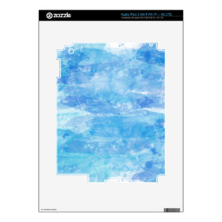 Trendy Ocean Blue Watercolor Paint Background Skins For iPad 3