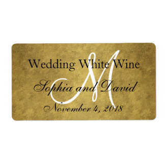 Trendy Old Gold Black Wedding Wine Label Monogram