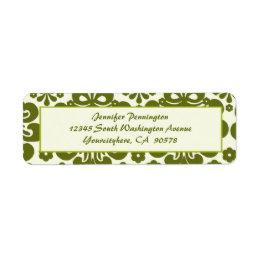 Trendy olive damask return address envelope labels