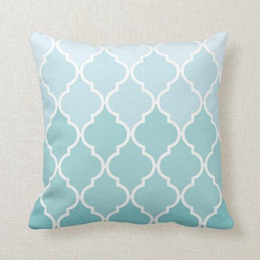 Ombre Moroccan Trellis, Latticework - Blue White Throw Pillow Zazzle