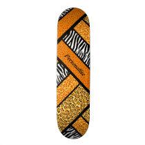 Trendy Orange African Animal Print With Name Skateboard