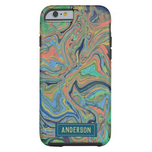 Trendy Orange blue marbling design Tough iPhone 6 Case