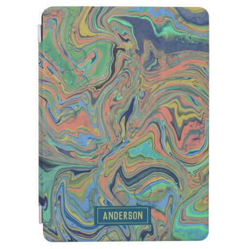 Trendy Orange blue marbling design iPad Air Cover