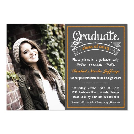Trendy Orange Chalkboard Typography Graduation Custom Invitation