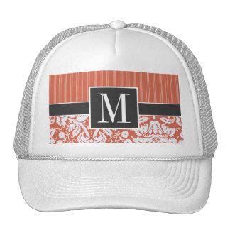 Trendy Orange Damask Pattern Mesh Hat