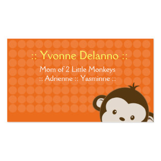 Trendy Orange Monkey Business / Mommy Calling Card Double-Sided Standard Business Cards (Pack Of 100)