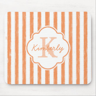 Trendy Orange Painted Stripes Monogram and Name Mouse Pad