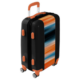 Trendy Orange Red Blue Stripes Luggage