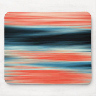 Trendy Orange Red Blue Stripes Mouse Pad