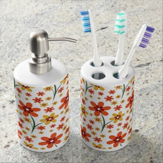 Trendy Orange Yellow Floral Pattern On White Bath Accessory Sets