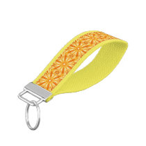Trendy Orange, Yellow Fractal Pattern Wrist Keychain