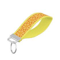 Trendy Orange, Yellow Fractal Pattern Wrist Keychain