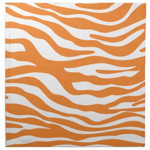Trendy Orange Zebra Print Pattern Printed NapkinsOrange Zebra Print Pattern