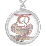 Trendy Owl - Abstract Art Ink Drawing Silver Plated Necklace