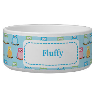 Trendy Owls Customized Pet Cat Food Bowl - Blue