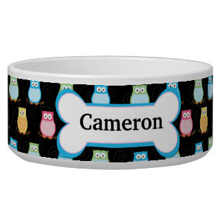 Trendy Owls Customized Pet Dog Food Bowl - Black