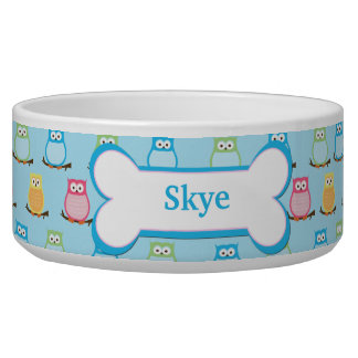 Trendy Owls Customized Pet Dog Food Bowl - Blue