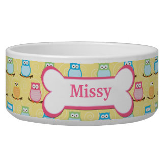 Trendy Owls Customized Pet Dog Food Bowl - Yellow