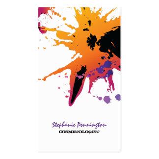 Trendy paint splatter cosmetolgist business card