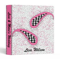 trendy paisley pink Wedding Planner binder