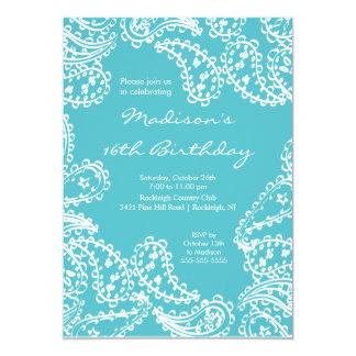 "Trendy Paisley Sweet Sixteen Birthday Invitation 5"" X 7"" Invitation Card"