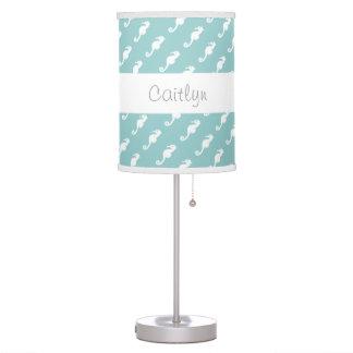 Trendy Pale Aqua Seahorses Custom Name A09 Table Lamps