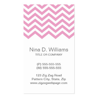Trendy pale pink chevron pattern , vertical business card