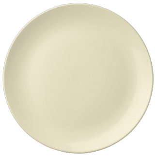 Trendy Pale Yellow Solid Color Porcelain Plate