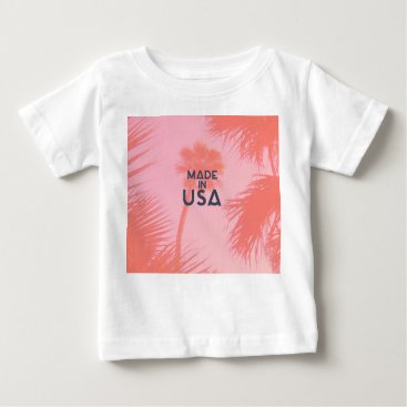 Beach Themed Trendy Palm Tree Bright Peach Made In  USA Type Baby T-Shirt