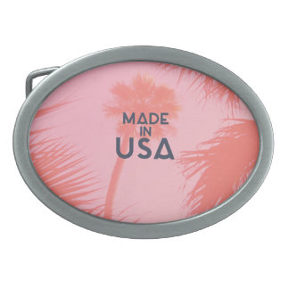 Trendy Palm Tree Bright Peach Made In  USA Type Belt Buckles