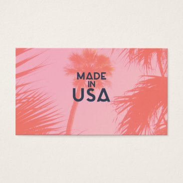 Beach Themed Trendy Palm Tree Bright Peach Made In  USA Type Business Card
