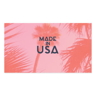 Trendy Palm Tree Bright Peach Made In  USA Type Double-Sided Standard Business Cards (Pack Of 100)