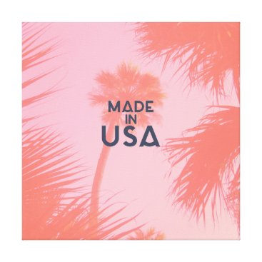 Beach Themed Trendy Palm Tree Bright Peach Made In  USA Type Canvas Print